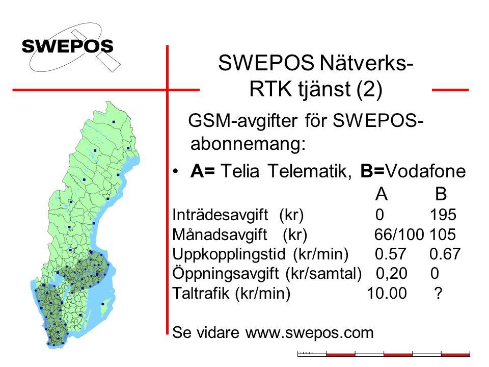 GSM-avgifter för SWEPOS- abonnemang: A= Telia Telematik, B=Vodafone A B Inträdesavgift (kr) 0 195 Månadsavgift (kr) 66/100 105 Uppkopplingstid (kr/min) 0.57 0.67 Öppningsavgift (kr/samtal) 0,20 0 Taltrafik (kr/min) 10.00 .