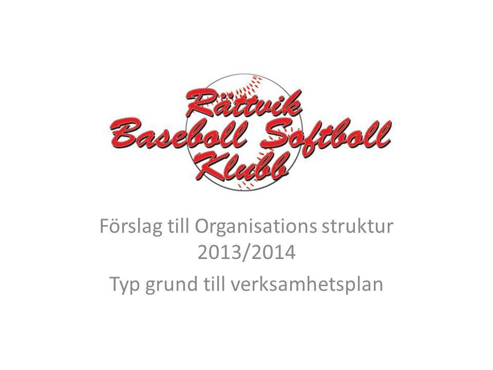 Förslag till Organisations struktur 2013/2014 Typ grund till verksamhetsplan