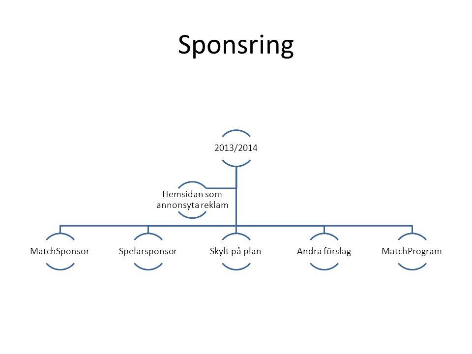 Sponsring 2013/2014 MatchSponsorSpelarsponsorSkylt på planAndra förslagMatchProgram Hemsidan som annonsyta reklam