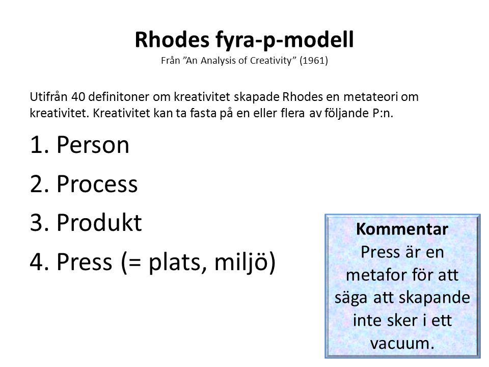 Rhodes fyra-p-modell Från An Analysis of Creativity (1961) Utifrån 40 definitoner om kreativitet skapade Rhodes en metateori om kreativitet.