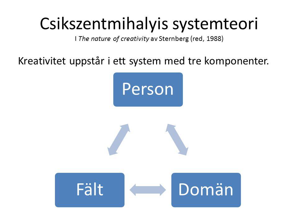 Csikszentmihalyis systemteori I The nature of creativity av Sternberg (red, 1988) Kreativitet uppstår i ett system med tre komponenter.