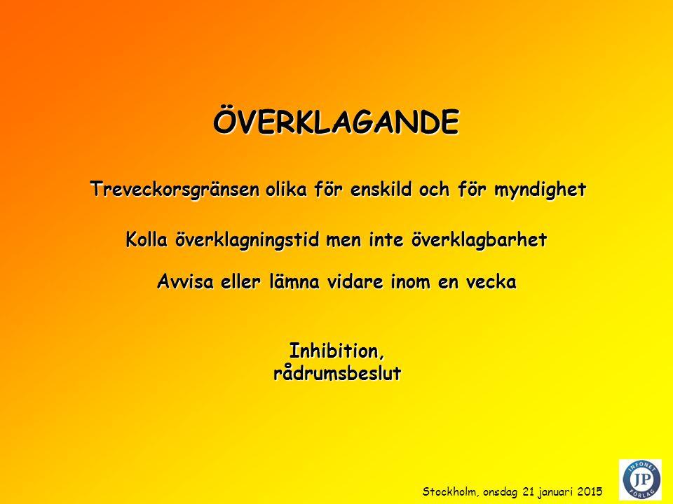 ÖVERKLAGANDE Kolla överklagningstid men inte överklagbarhet Inhibition,rådrumsbeslut Treveckorsgränsen olika för enskild och för myndighet Avvisa eller lämna vidare inom en vecka Stockholm, onsdag 21 januari 2015