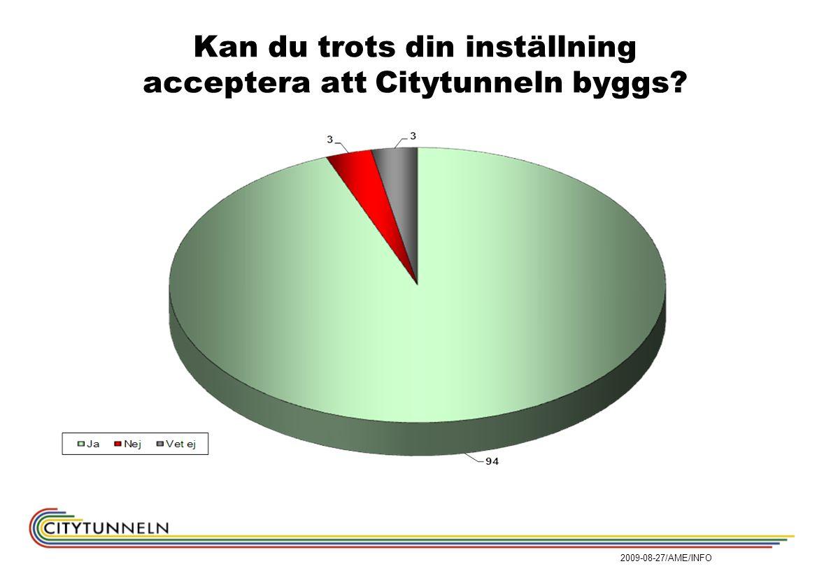 2009-08-27/AME/INFO Kan du trots din inställning acceptera att Citytunneln byggs