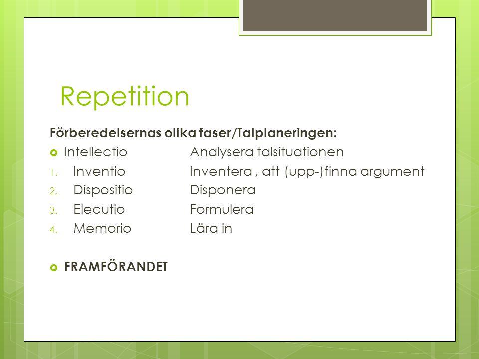 Repetition Förberedelsernas olika faser/Talplaneringen:  Intellectio Analysera talsituationen 1. InventioInventera, att (upp-)finna argument 2. Dispo