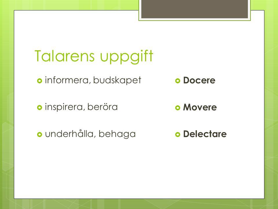 Talarens uppgift  informera, budskapet  inspirera, beröra  underhålla, behaga  Docere  Movere  Delectare