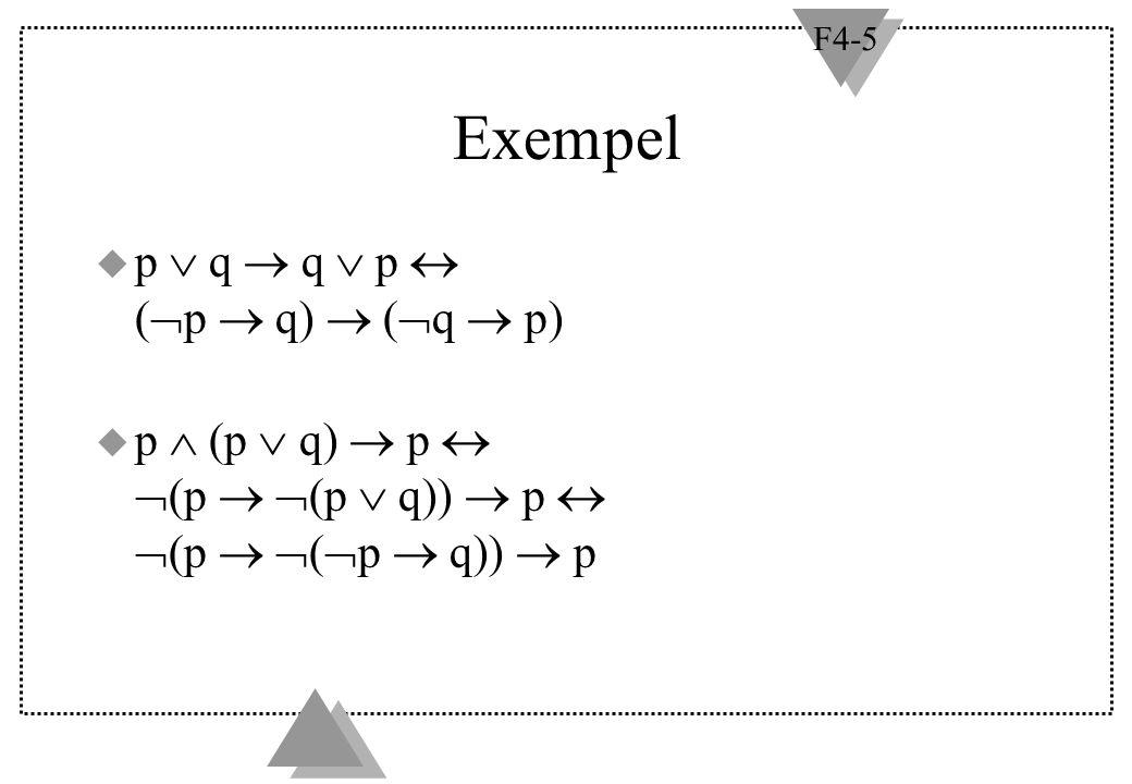 F4-5 Exempel u p  q  q  p  (  p  q)  (  q  p) u p  (p  q)  p   (p   (p  q))  p   (p   (  p  q))  p