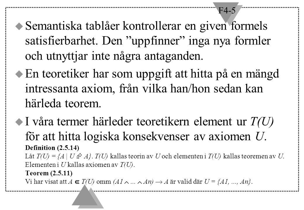 F4-5 Teorem (2.8.5) (bevisas i boken) u Låt U vara en mängd formler och låt U vara mängden av komplementen till formlerna i U.