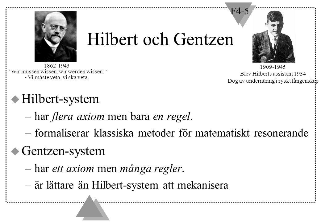 F4-5 Härledda inferensregler u Vi kan utöka Hilbertsystem med s k härledda inferensregler.