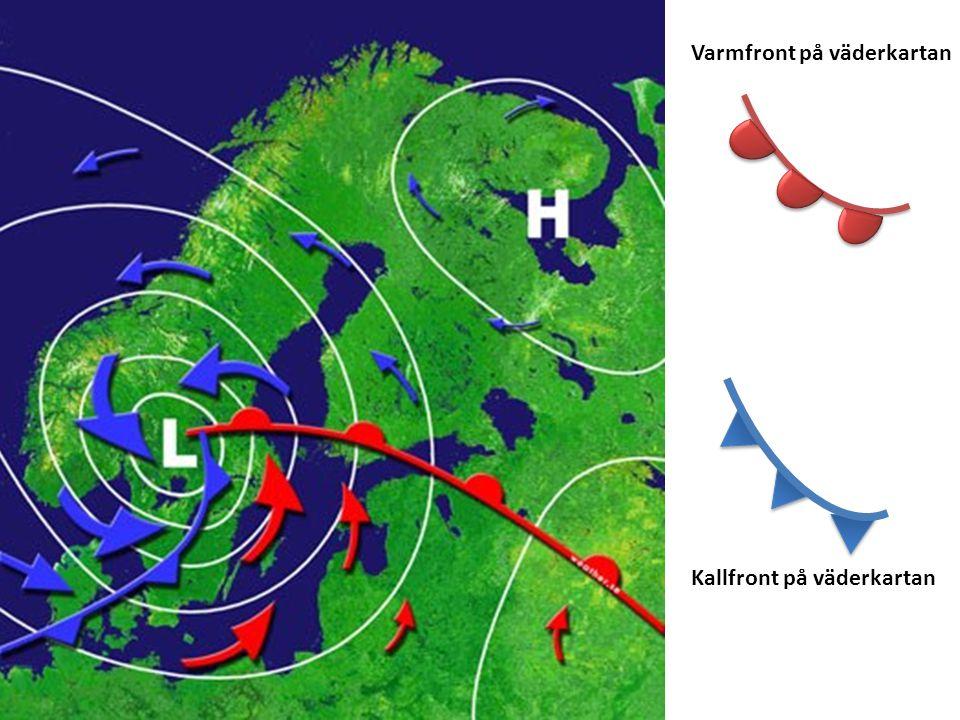Varmfront på väderkartan Kallfront på väderkartan