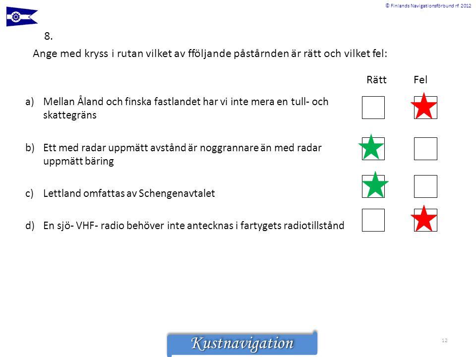 © Finlands Navigationsförbund rf 2012KustnavigationKustnavigation 8. Rätt Fel a)Mellan Åland och finska fastlandet har vi inte mera en tull- och skatt