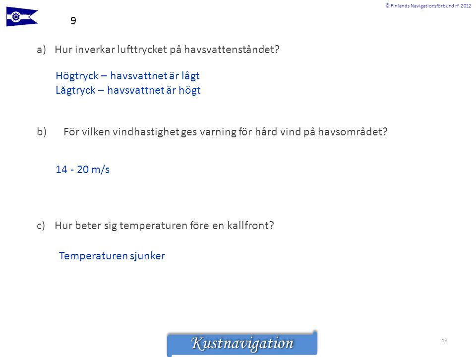 © Finlands Navigationsförbund rf 2012KustnavigationKustnavigation 9 a)Hur inverkar lufttrycket på havsvattenståndet? Högtryck – havsvattnet är lågt Lå