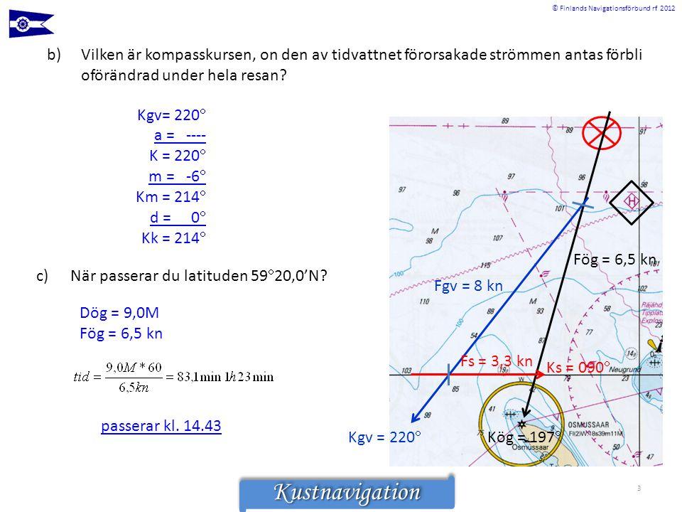 © Finlands Navigationsförbund rf 2012KustnavigationKustnavigation 3 Ks = 090  Fs = 3,3 kn Fgv = 8 kn Kgv = 220  Kög = 197  Fög = 6,5 kn b)Vilken är
