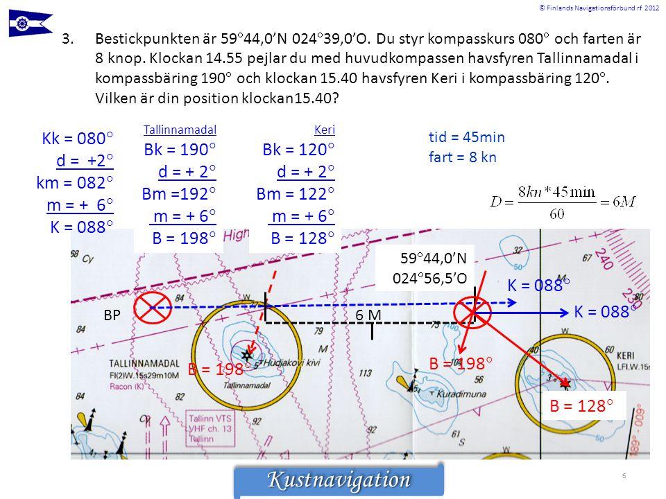 © Finlands Navigationsförbund rf 2012KustnavigationKustnavigation 6 3.Bestickpunkten är 59  44,0'N 024  39,0'O. Du styr kompasskurs 080  och farten