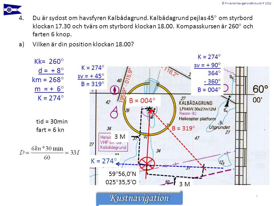 © Finlands Navigationsförbund rf 2012KustnavigationKustnavigation 4.Du är sydost om havsfyren Kalbådagrund. Kalbådagrund pejlas 45  om styrbord klock