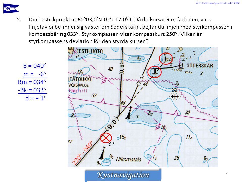 © Finlands Navigationsförbund rf 2012KustnavigationKustnavigation 5.Din bestickpunkt är 60  03,0'N 025  17,0'O. Då du korsar 9 m farleden, vars linj