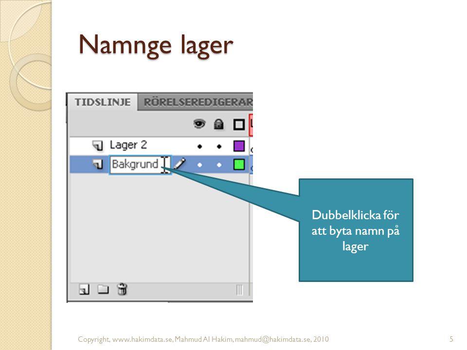 Flytta lager Copyright, www.hakimdata.se, Mahmud Al Hakim, mahmud@hakimdata.se, 20106 klicka i lagret, håll ned vänster musknapp och dra nedåt eller uppåt i lagerlistan!