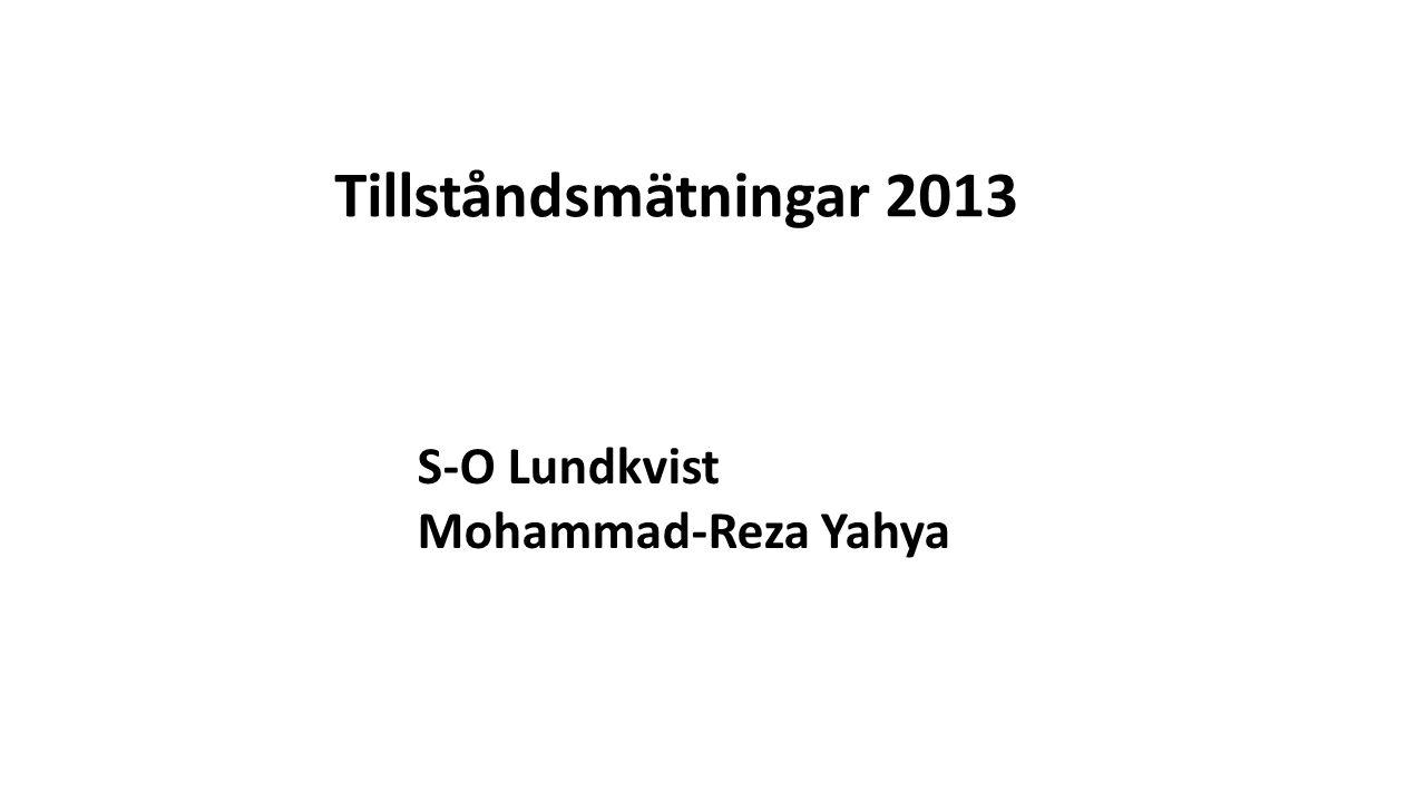 Tillståndsmätningar 2013 S-O Lundkvist Mohammad-Reza Yahya