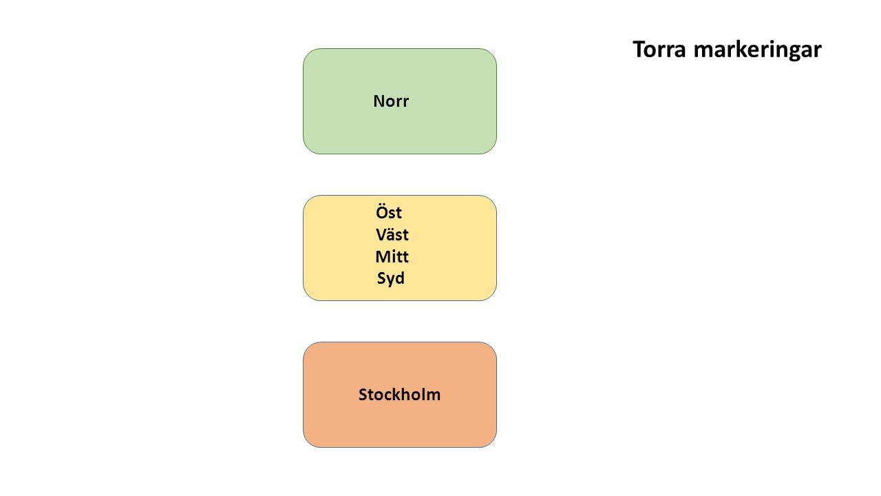 Norr Mitt Väst Öst Syd Stockholm Torra markeringar