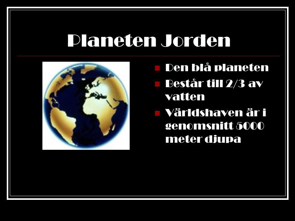 Planeten Jorden Om man jämför Jorden med ett äpple, så är jordskorpan lika tjock som skalet på äpplet Innanför skalet finns flytande lava