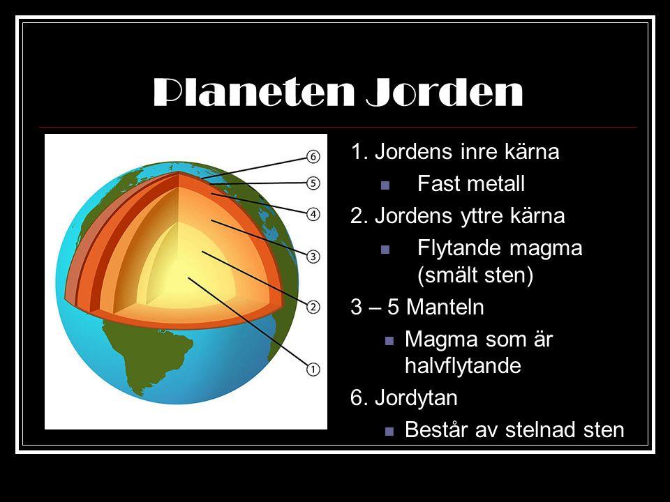 Planeten Jorden Trycket från den heta lavan gör att jordskorpan spricker och att den rör sig Dessa rörelser formar Jorden inifrån