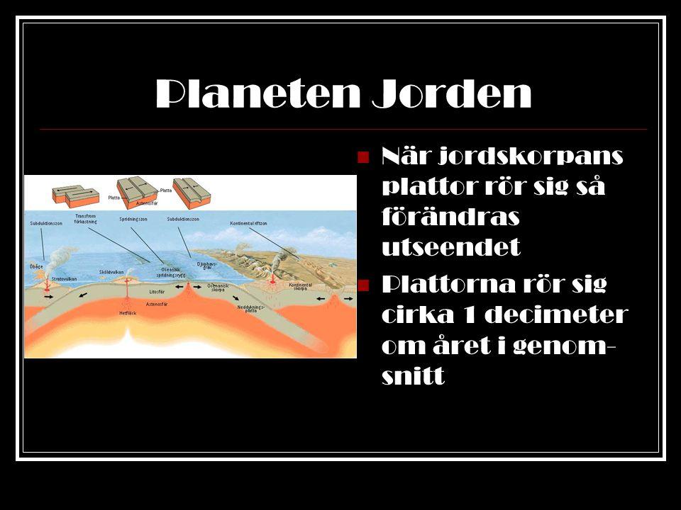 Planeten Jorden Där plattorna går isär från varann trycks lava upp och stelnar Då bildas mycket långa bergskedjor I Atlanten finns en sådan bergskedja Oceanbotten- spridning