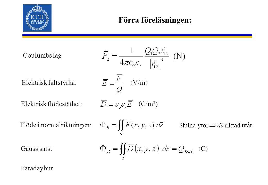 Förra föreläsningen: Flöde i normalriktningen: Elektrisk fältstyrka:(V/m) Coulumbs lag Elektrisk flödestäthet: (C/m 2 ) Gauss sats: Faradaybur (C)