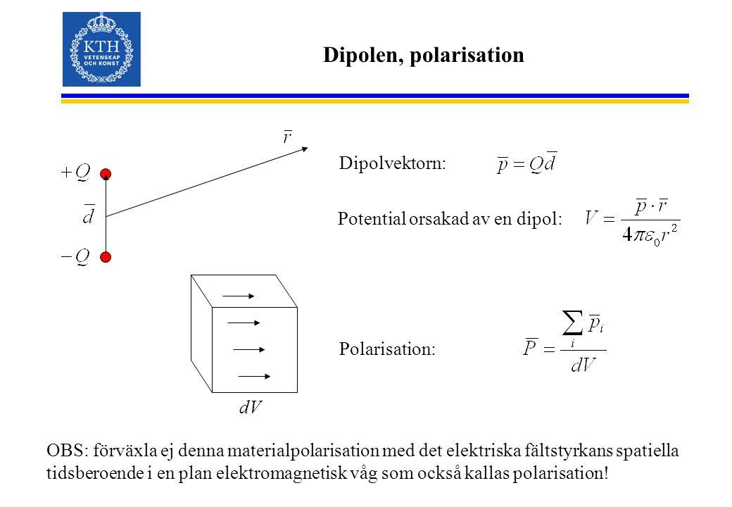 Dipolen, polarisation OBS: förväxla ej denna materialpolarisation med det elektriska fältstyrkans spatiella tidsberoende i en plan elektromagnetisk våg som också kallas polarisation.