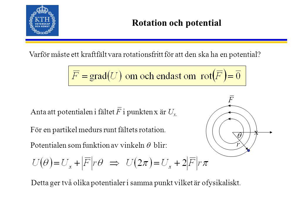 Rotation och potential Varför måste ett kraftfält vara rotationsfritt för att den ska ha en potential? x F _ Anta att potentialen i fältet F i punkten