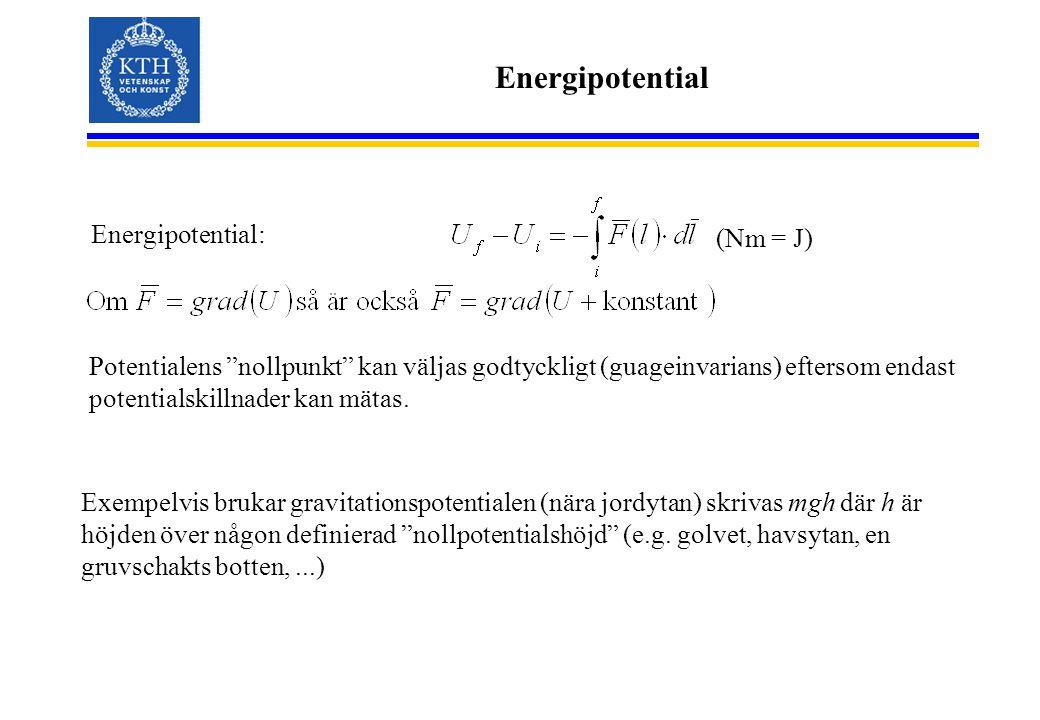 Energipotential (Nm = J) Energipotential: Potentialens nollpunkt kan väljas godtyckligt (guageinvarians) eftersom endast potentialskillnader kan mätas.