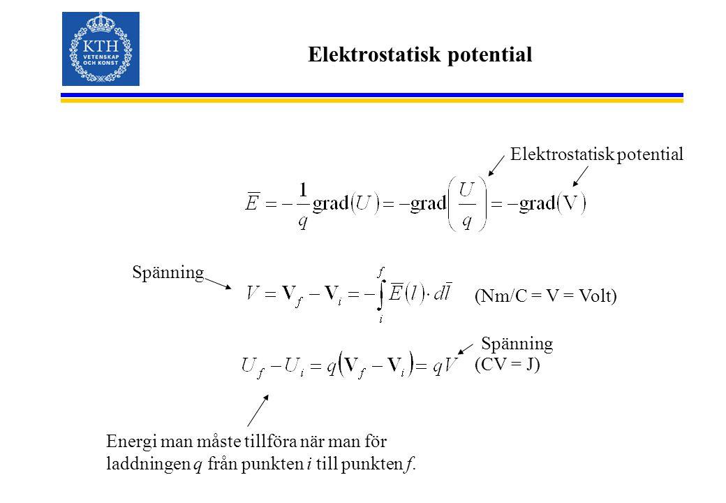 Elektrostatisk potential (Nm/C = V = Volt) (CV = J) Spänning Energi man måste tillföra när man för laddningen q från punkten i till punkten f. Spännin