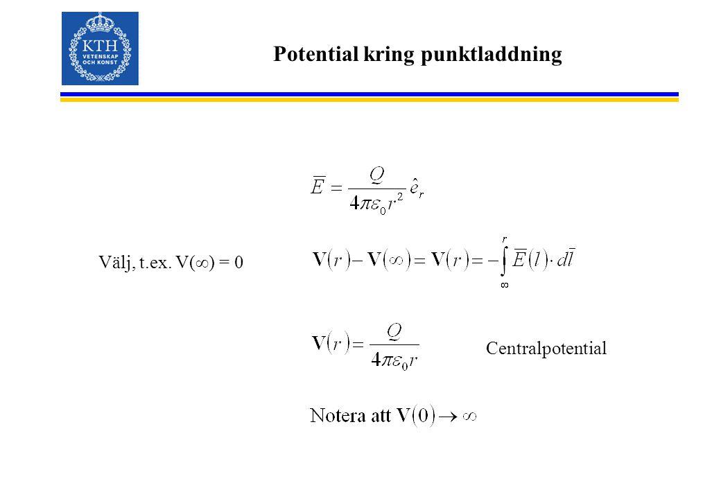 Potential kring punktladdning Välj, t.ex. V(∞) = 0 Centralpotential