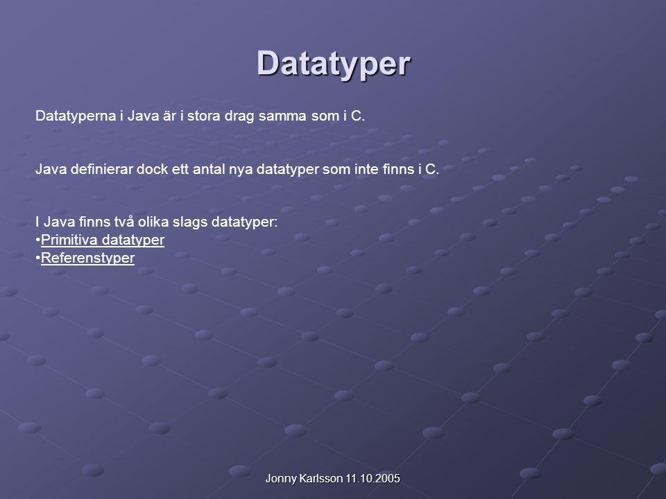 Jonny Karlsson 11.10.2005 Primitiva datatyper Namn Utrymme i minnet Värden * byte 8 bitar (1 byte) -2 7 till + 2 7 – 1 * short 16 bitar (2 byte) -2 15 till + 2 15 – 1 int 32 bitar (4 byte) -2 31 till + 2 31 – 1 long 64 bitar (8 byte) -2 63 till + 2 63 – 1 char 16 bitar (2 byte) Tecken i Unicodcode tabellerna * boolean 8 bitar (1 byte) true eller false float 32 bitar (4 byte) -3,40292347*10 38 till +3,40292347*10 38 double 64 bitar (8 byte) -1,79769313486231570*10 308 till +1,79769313486231570*10 308 En primitiv datatyp är en datatyp som finns definierat i språket från början.