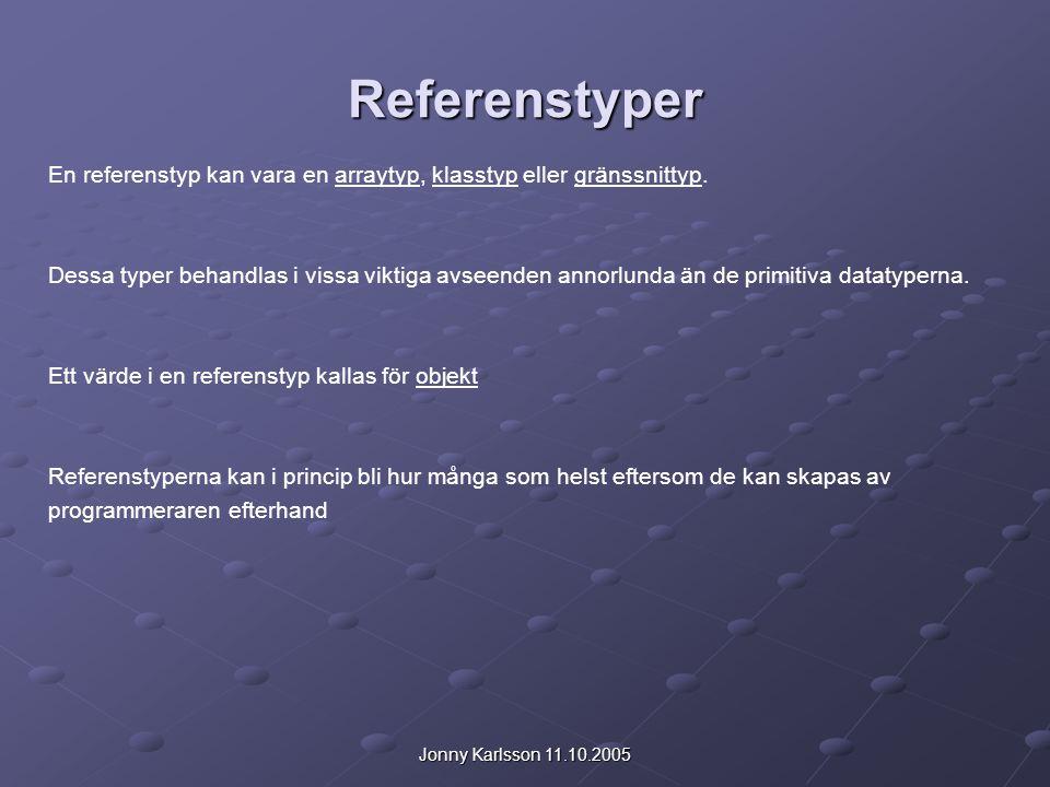 Jonny Karlsson 11.10.2005 Referenstyper En referenstyp kan vara en arraytyp, klasstyp eller gränssnittyp. Dessa typer behandlas i vissa viktiga avseen