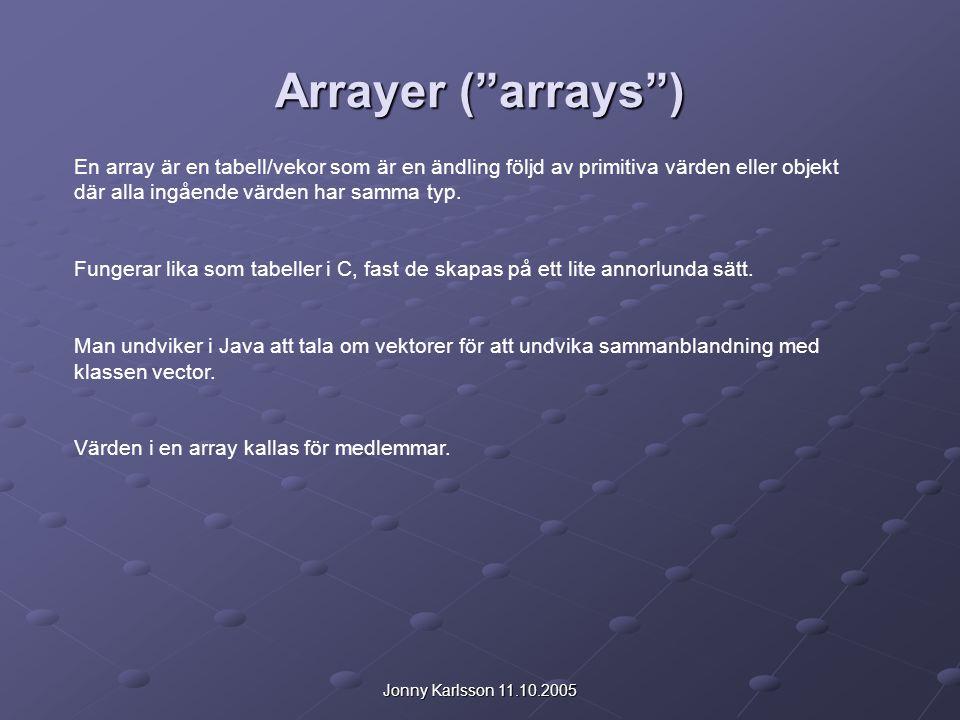 Jonny Karlsson 11.10.2005 Deklaration av Array-variabler int [ ] a; eller int a [ ]; Detta deklarerar variabeln a som är en array av typen int.