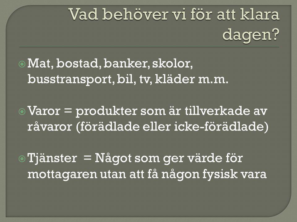  Mat, bostad, banker, skolor, busstransport, bil, tv, kläder m.m.  Varor = produkter som är tillverkade av råvaror (förädlade eller icke-förädlade)