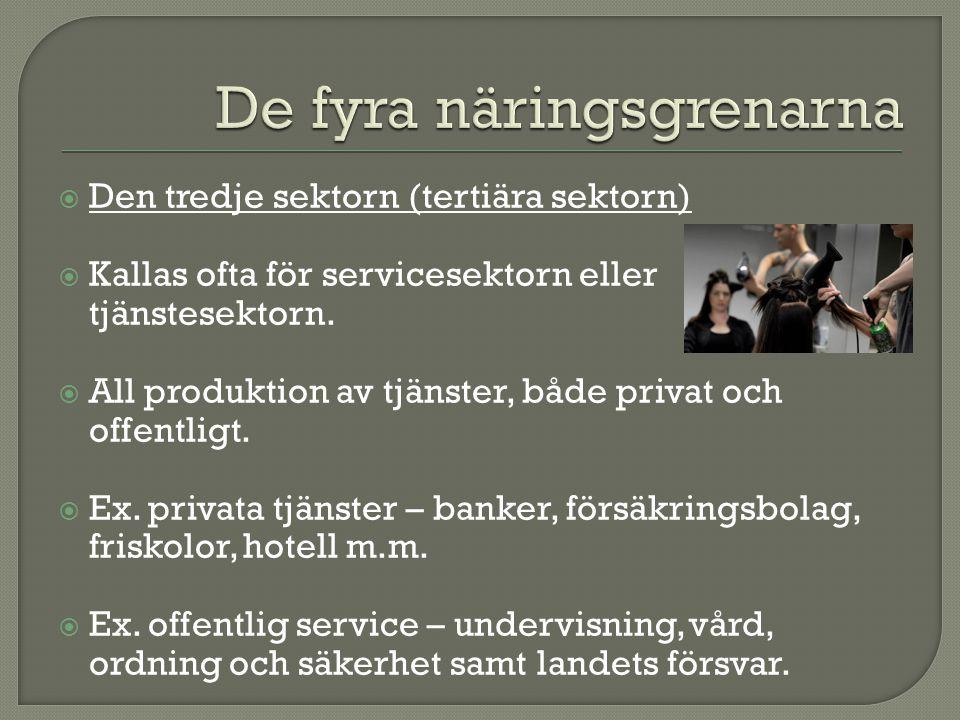  Den tredje sektorn (tertiära sektorn)  Kallas ofta för servicesektorn eller tjänstesektorn.  All produktion av tjänster, både privat och offentlig