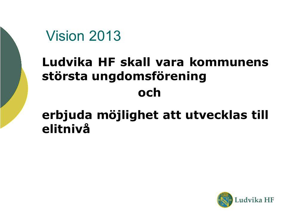 Vision 2013 Ludvika HF skall vara kommunens största ungdomsförening och erbjuda möjlighet att utvecklas till elitnivå