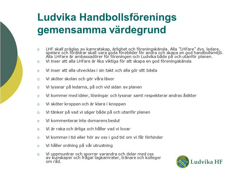 """Ludvika Handbollsförenings gemensamma värdegrund  LHF skall präglas av kamratskap, ärlighet och föreningskänsla. Alla """"LHFare"""" dvs. ledare, spelare o"""