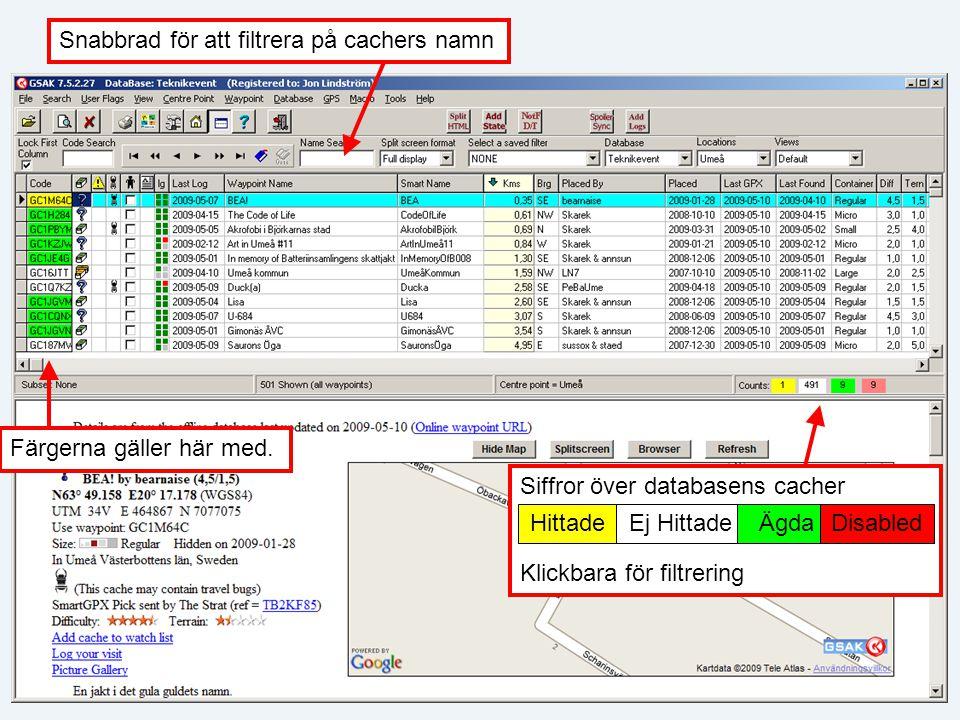 Snabbrad för att filtrera på cachers namn Siffror över databasens cacher Klickbara för filtrering HittadeEj HittadeÄgda Disabled Färgerna gäller här med.