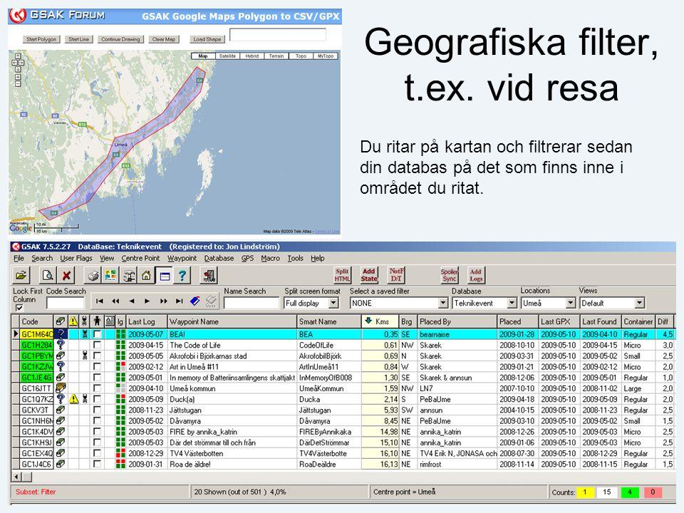 Geografiska filter, t.ex.