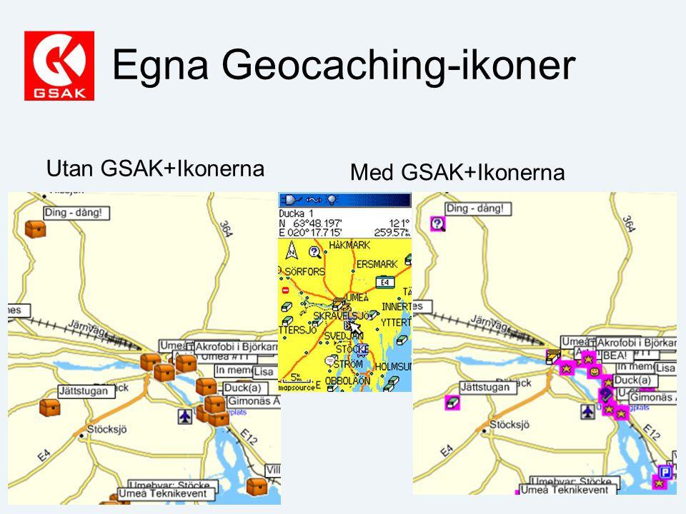 Egna Geocaching-ikoner Utan GSAK+Ikonerna Med GSAK+Ikonerna