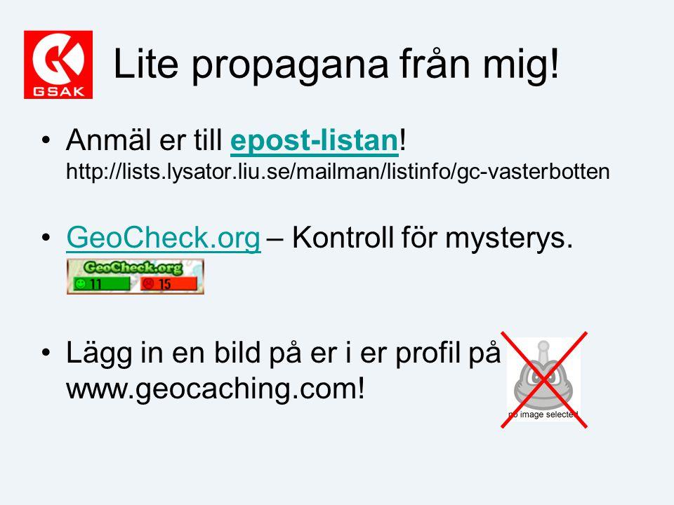 Lite propagana från mig. Anmäl er till epost-listan.