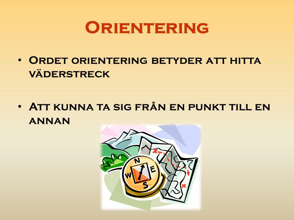 Orientering Färger på en orienteringskarta: Skog Vatten, blöt mark Tomter Vägar, stenar, Äng, åker Höjder