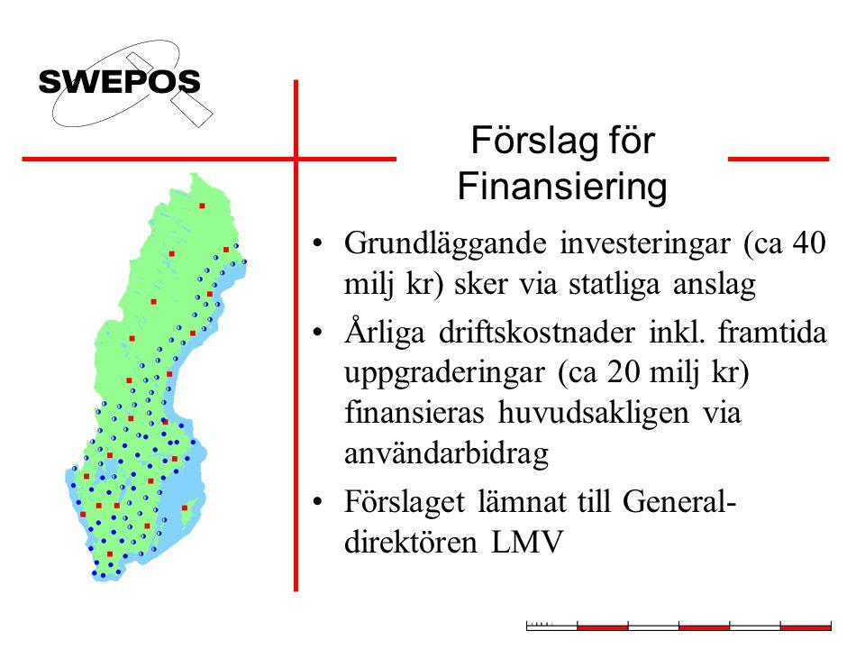 Förslag för Finansiering Grundläggande investeringar (ca 40 milj kr) sker via statliga anslag Årliga driftskostnader inkl. framtida uppgraderingar (ca