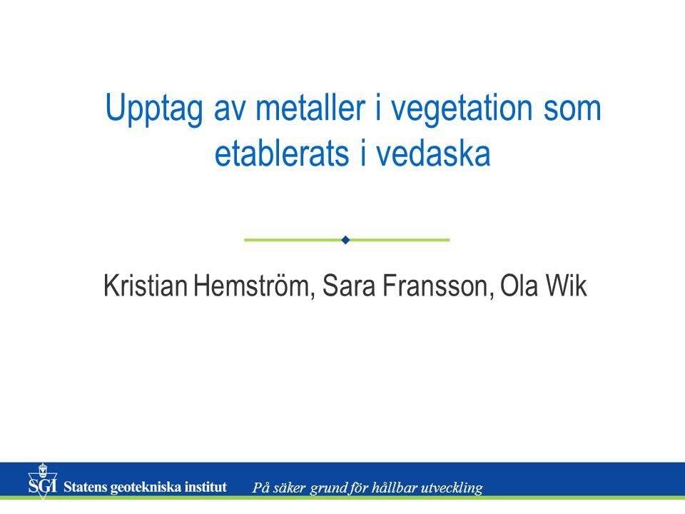 På säker grund för hållbar utveckling Upptag av metaller i vegetation som etablerats i vedaska Kristian Hemström, Sara Fransson, Ola Wik