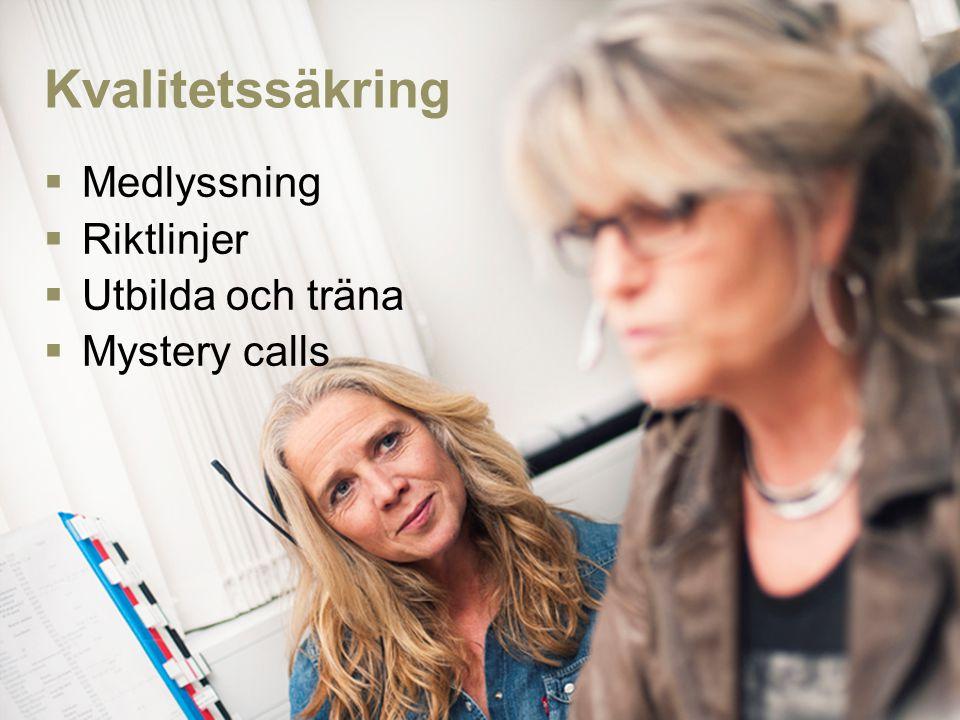 Kvalitetssäkring  Medlyssning  Riktlinjer  Utbilda och träna  Mystery calls
