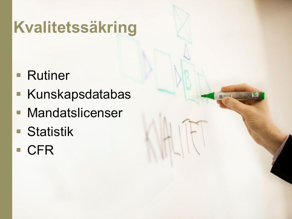  Rutiner  Kunskapsdatabas  Mandatslicenser  Statistik  CFR Kvalitetssäkring