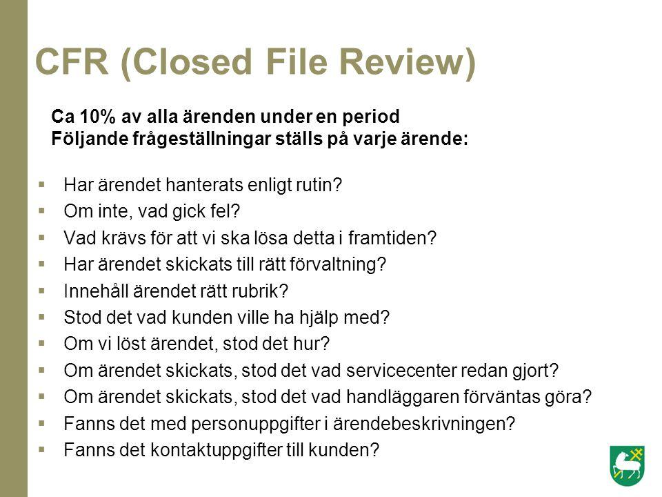 CFR (Closed File Review)  Har ärendet hanterats enligt rutin?  Om inte, vad gick fel?  Vad krävs för att vi ska lösa detta i framtiden?  Har ärend