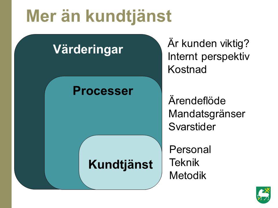 Värderingar Processer Kundtjänst Ärendeflöde Mandatsgränser Svarstider Är kunden viktig? Internt perspektiv Kostnad Personal Teknik Metodik Mer än kun