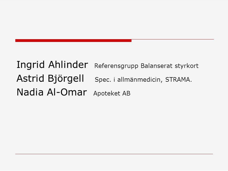 Ingrid Ahlinder Referensgrupp Balanserat styrkort Astrid Björgell Spec. i allmänmedicin, STRAMA. Nadia Al-Omar Apoteket AB